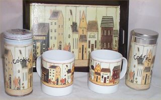Mugs Gift Basket Cookies Wood Tray FolkArt Kitchen Coffee Gifts