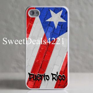 Custom White Puerto Rico Flag Brick Case Cover iPhone 4 4G 4GS 4S 8 16