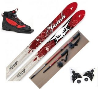 NEW Kids 75mm Cross Country SKIS/BINDINGS/BOOTS/POLES  110/120/130cm