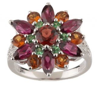 15 ct tw Garnet Sterling Diamond Accent Flower Ring —