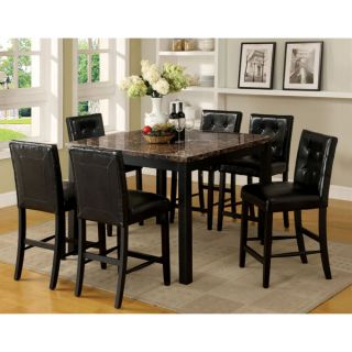 Espresso Finish Faux Marble Table Top Counter Height Dining Set