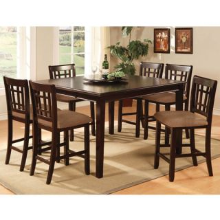 Solid Wood Dark Cherry Finish 9 Piece Counter Height Dining Set