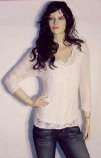 New Croft Barrow Crochet Stretch Sweater L