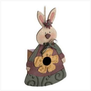 Country Folk Art Bunny Rabbit Wood Bird House Birdhouse