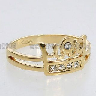 Crystal 18k White Gold Plated Cute Crown Ring  94903