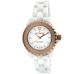 Peugeot Womens Ceramic Swarovski Crystal WhiteDial Watch   J308588