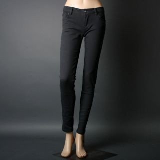 Dark Gray Charcoal Women Solid Colored Stretch Casual Denim Skinny