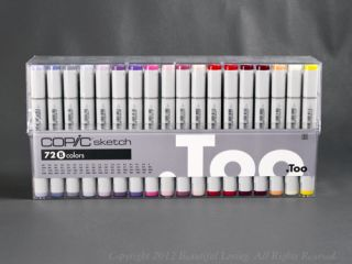 Copic Too Sketch Marker Set 72 B Brush Tip Graphic Arts in Case Plus