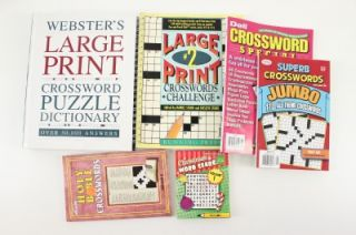 WEBSTERS Large Print Crossword Puzzle Dictionary & Puzzle Books 6PC