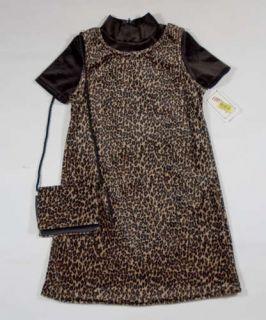 COPPER KEY GIRLS SIZE 5 DRESS NWT VELVET LEOPARD DRESS & PURSE SET NEW