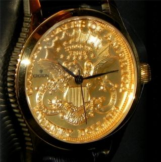 Croton Gold American Eagle $20 Gold Coin Mens Watch