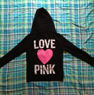 Victorias Secret Pink Full Zip Black Hoodie Size Medium