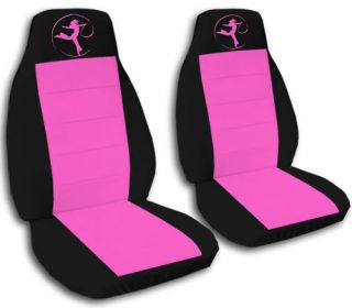 Dancer Car Seat Covers Front Set in Black and Pink