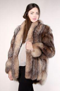 Vintage Crystal Fox Fur Coat Vtg 80s Princess Mink Jacket Cape Stole