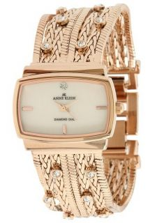 AK Anne Klein 10 9270CMRG Diamond Accented Rose Gold Multi Chain