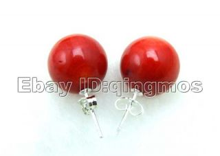 17mm Red Perfect Round Natural Coral Earrings S925 Stud EAR194