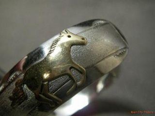 Corbet Joe Navajo Sterling Silver Gold Filled Horse Cuff Bracelet