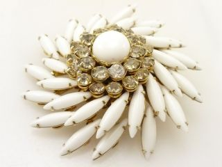 Signed Judy Lee White Milk Glass Navette & Crystal Rhinestone Brooch R