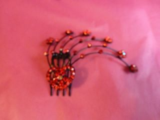 HEART & FLOWER CRYSTAL SPRAY HAIR COMB BLACK METAL 4 COLOURS AVAIL