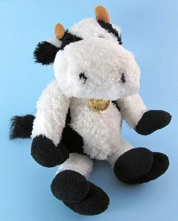 Soft & Sparkly Shaggy Plush COW Stuffed Toy Farm Animal w/ Medallion