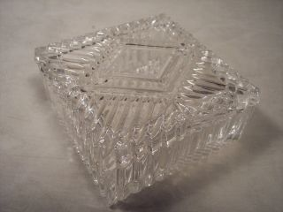 Beautiful Square Crystal Glass Trinket Jewelry Box Excellent
