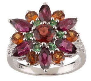 15 ct tw Garnet Sterling Diamond Accent Flower Ring   J260088
