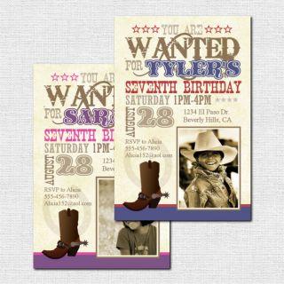 horse cowboy cowgirl birthday party invitations cute