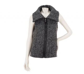 LOGO by Lori Goldstein Vest with Faux Leather Trim   A228397