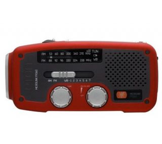 Eton Solar AM/FM/NOAA Weather Band Radio   Red —