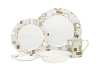 20 PC Corelle Impromptu Dinnerware Set Gray Brown New