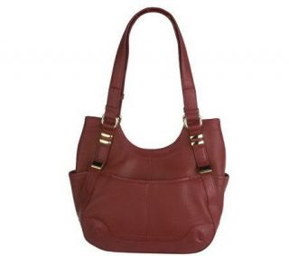 Tignanello Pebble Leather Scooped Top Tote with Pockets —