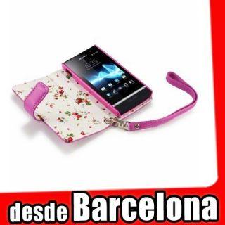 Funda Cuero Piel Sony Ericsson Xperia U st25i Rosa Fucsia con interior