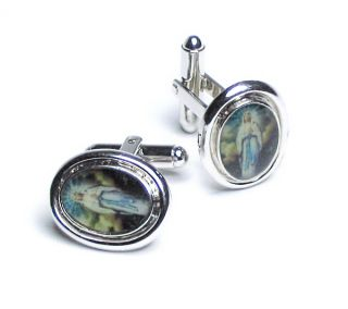 Silver Tone Cufflinks Oval Shaped Virgin Mary Cuff Links