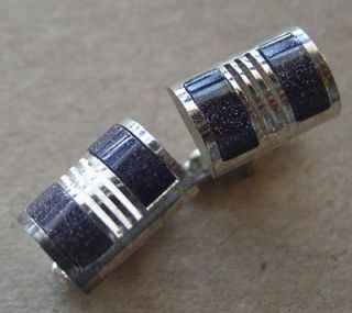 Vintage CUFFLINKS Cuff Links PURPLE Silver IRIDESCENT Graduation