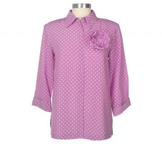 Susan Graver Crepe Polka Dot Big Shirt with Flower Pin   A50075