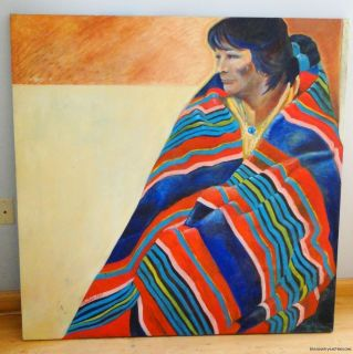 LARGE ORIGINAL PAINTING RAY CRENNA NATIVE AMERICAN INDIAN WOMAN IN