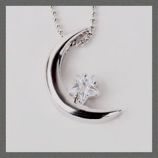 Crescent Moon and Star Cubic Necklace CE 013