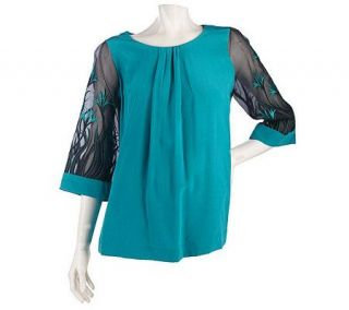 Bob Mackies Organza Sleeve Silk Blouse with Embroidery & Pleat Detail