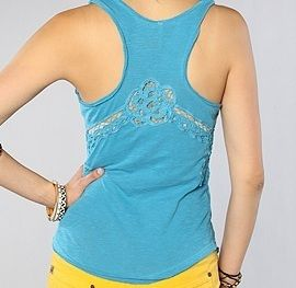 Free People New Lace Battenburg Inset Tank Top Shirt in Electric Ocean