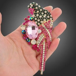 gold gp necklace pendant huge pink crystal parrot brooch pin X50
