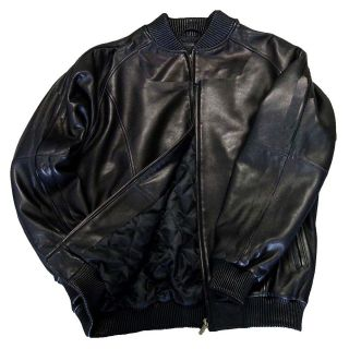 Mens Pig Nappa Leather Baseball Bomber Jacket with Ribbed Collar Cuffs
