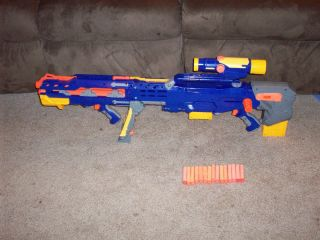 Nerf Longshot CS 6 Sniper Dart Gun Blue Two Clips Scope w Front