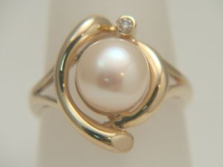 14k Yellow Gold Cultured Pearl Diamond Estate Ring