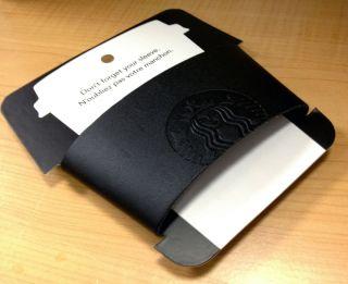 Starbucks Coffee Reusable Leather Cup Tumbler Holder Sleeve Black card