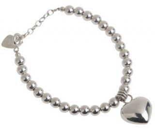 Sterling Jingle Heart Adjustable Bead Bracelet —