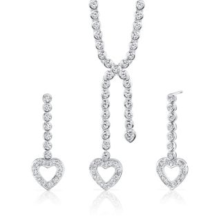 Heart Lariat Tennis Necklace Earrings Set White Cubic Zirconia