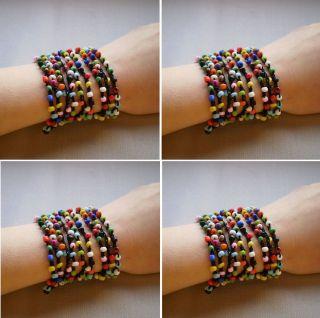 4pcs Crochet Beaded Bracelet Wrap Bracelet Necklace Mixed Colors