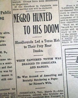 1901 Negro Lynching Hanging Burning Corsicana TX Texas Newspaper John