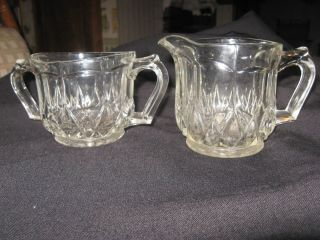 Vintage Heavy Glass Sugar and Creamer Set