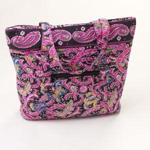 Cul de Sac Black Hot Pink Paisley Quilted Large Tote Bag Purse Handbag